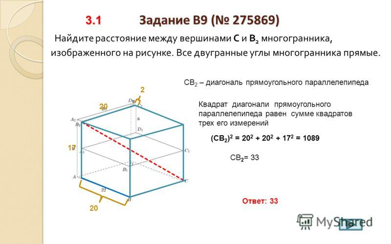 2.5 Задание B9 ( 275865) 2.5 Задание B9 ( 275865) Найдите квадрат расстояния между вершинами А и В 1 многогранника, изображенного на рисунке. Все двугранные углы многогранника прямые. 3 АВВ 1 - прямоугольный равнобедренный (АВ 1 ) 2 = 9 + 9 = 18 Отве