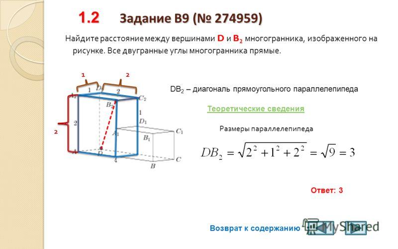 Теоретические сведения Теоретические сведения Квадрат диагонали прямоугольного параллелепипеда равен сумме квадратов трех его измерений : d 2 = a 2 + b 2 + c 2, где а, b и с – длины трех непараллельных ребер прямоугольного параллелепипеда ( это теоре