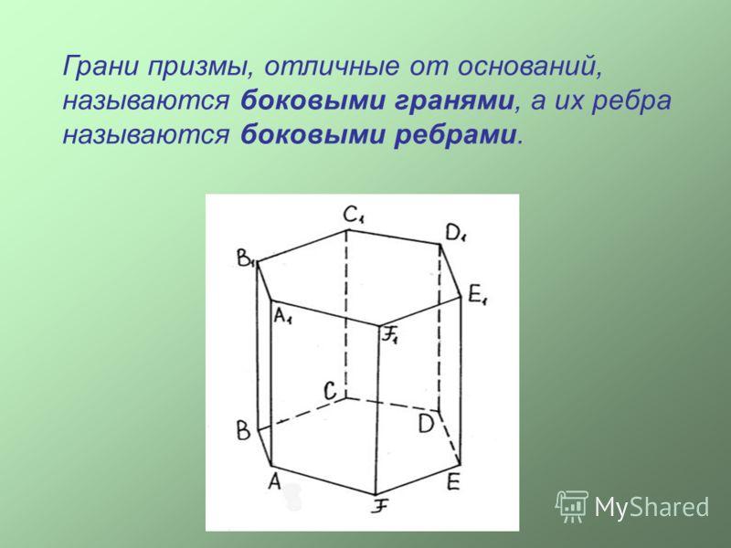 Грани призмы, отличные от оснований, называются боковыми гранями, а их ребра называются боковыми ребрами.