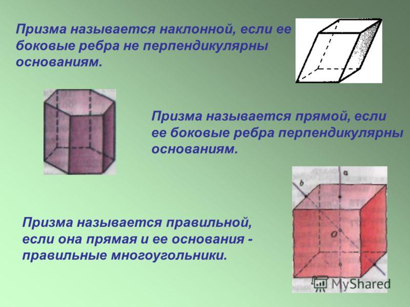 Призма называется наклонной, если ее боковые ребра не перпендикулярны основаниям. Призма называется прямой, если ее боковые ребра перпендикулярны основаниям. Призма называется правильной, если она прямая и ее основания - правильные многоугольники.