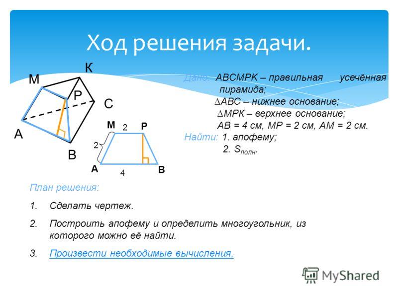 Ход решения задачи. Дано: ABCMPK – правильная усечённая пирамида; АВС – нижнее основание; МРК – верхнее основание; АВ = 4 см, МР = 2 см, АМ = 2 см. Найти: 1. апофему; 2. S полн. План решения: 1.Сделать чертеж. 2.Построить апофему и определить многоуг