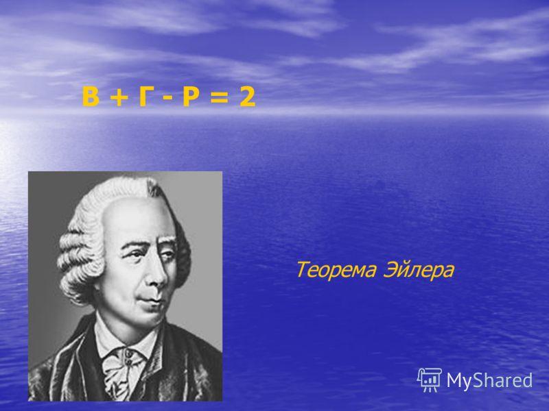 В + Г - Р = 2 Теорема Эйлера