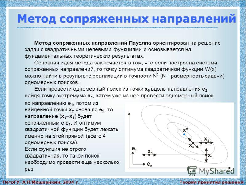 Теория принятия решенийПетрГУ, А.П.Мощевикин, 2004 г. Метод сопряженных направлений Метод сопряженных направлений Пауэлла ориентирован на решение задач с квадратичными целевыми функциями и основывается на фундаментальных теоретических результатах. Ос