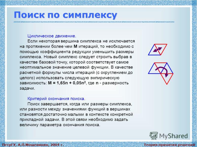Теория принятия решенийПетрГУ, А.П.Мощевикин, 2004 г. Поиск по симплексу Циклическое движение. Если некоторая вершина симплекса не исключается на протяжении более чем М итераций, то необходимо с помощью коэффициента редукции уменьшить размеры симплек