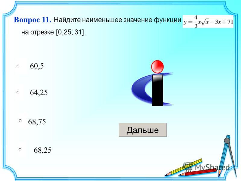 68,75 64,25 68,25 60,5 Вопрос 11. Найдите наименьшее значение функции на отрезке [0,25; 31].