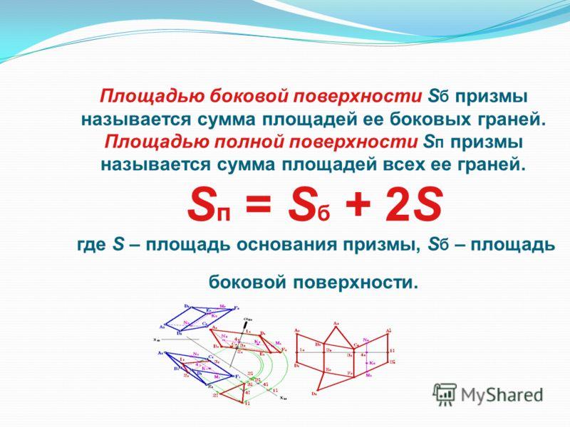 Площадью боковой поверхности S б призмы называется сумма площадей ее боковых граней. Площадью полной поверхности S п призмы называется сумма площадей всех ее граней. S п = S б + 2S где S – площадь основания призмы, S б – площадь боковой поверхности.