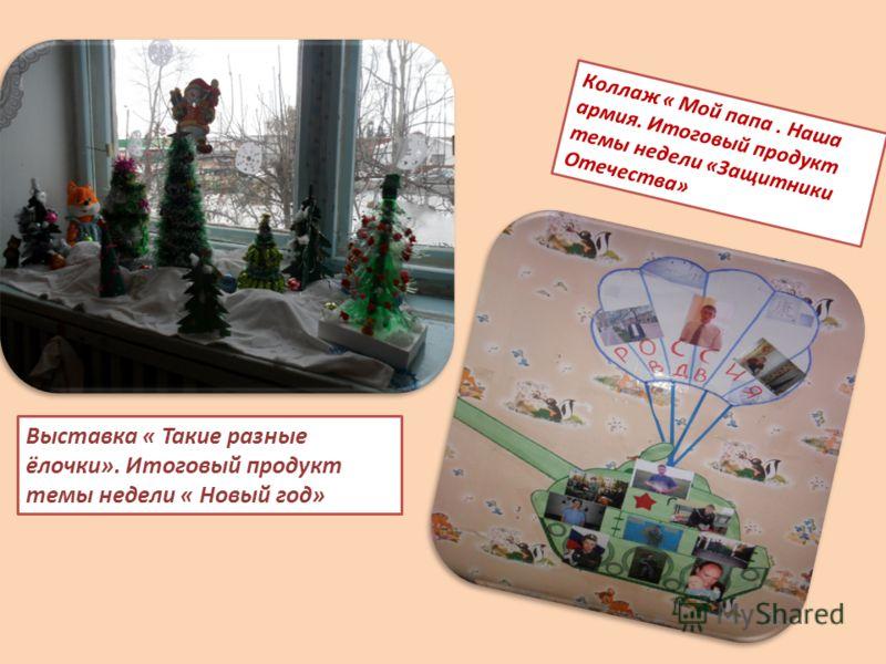 Коллаж « Мой папа. Наша армия. Итоговый продукт темы недели «Защитники Отечества» Выставка « Такие разные ёлочки». Итоговый продукт темы недели « Новый год»