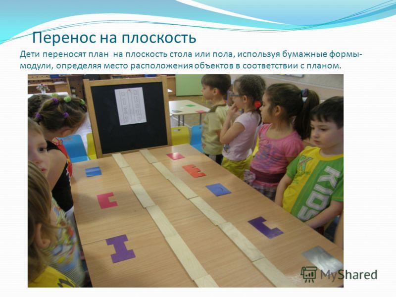 Перенос на плоскость Дети переносят план на плоскость стола или пола, используя бумажные формы- модули, определяя место расположения объектов в соответствии с планом.