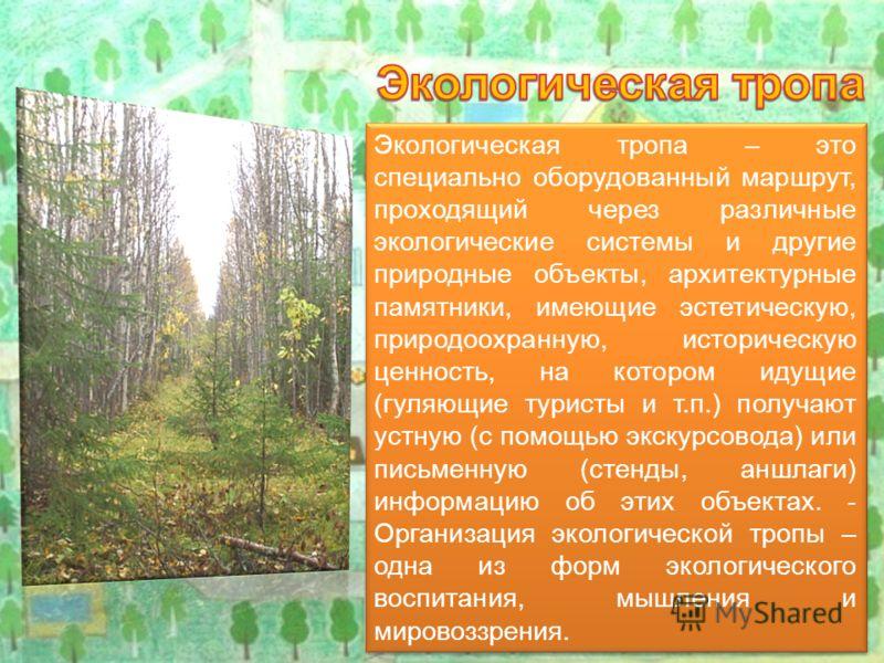 Экологическая тропа – это специально оборудованный маршрут, проходящий через различные экологические системы и другие природные объекты, архитектурные памятники, имеющие эстетическую, природоохранную, историческую ценность, на котором идущие (гуляющи