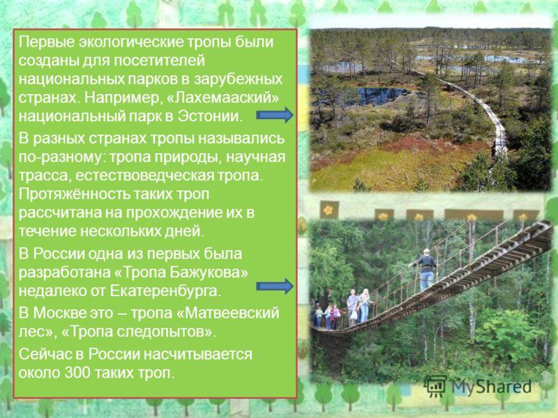 Первые экологические тропы были созданы для посетителей национальных парков в зарубежных странах. Например, «Лахемааский» национальный парк в Эстонии. В разных странах тропы назывались по-разному: тропа природы, научная трасса, естествоведческая троп