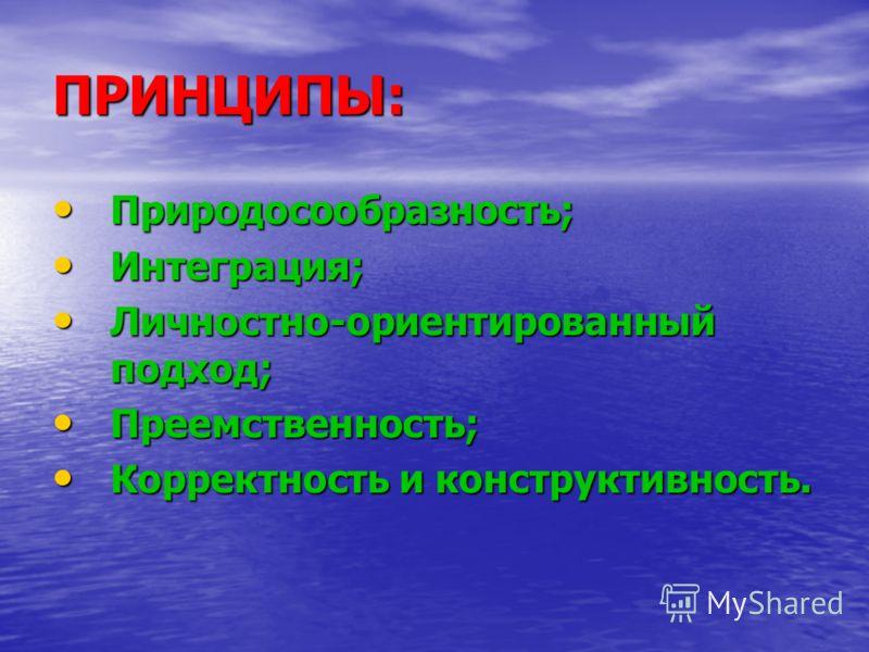 ПРИНЦИПЫ: Природосообразность; Природосообразность; Интеграция; Интеграция; Личностно-ориентированный подход; Личностно-ориентированный подход; Преемственность; Преемственность; Корректность и конструктивность. Корректность и конструктивность.
