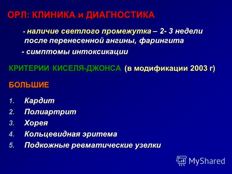ОРЛ: КЛИНИКА и ДИАГНОСТИКА ОРЛ: КЛИНИКА и ДИАГНОСТИКА - наличие светлого промежутка – 2- 3 недели после перенесенной ангины, фарингита - наличие светлого промежутка – 2- 3 недели после перенесенной ангины, фарингита - симптомы интоксикации - симптомы