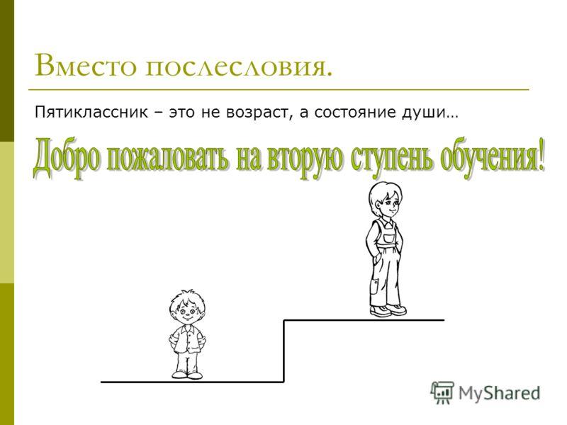 Вместо послесловия. Пятиклассник – это не возраст, а состояние души…