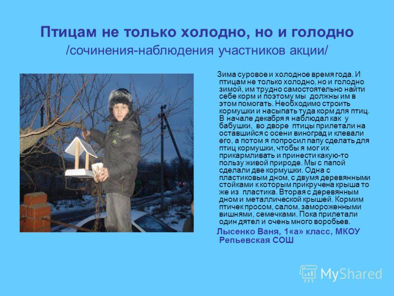 Птицам не только холодно, но и голодно /сочинения-наблюдения участников акции/ Зима суровое и холодное время года. И птицам не только холодно, но и голодно зимой, им трудно самостоятельно найти себе корм и поэтому мы должны им в этом помогать. Необхо