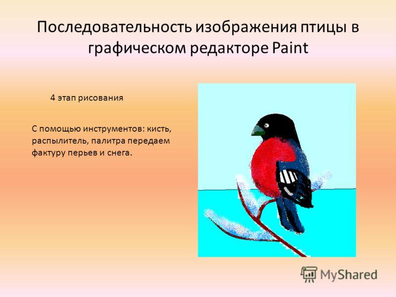 Последовательность изображения птицы в графическом редакторе Paint 4 этап рисования С помощью инструментов: кисть, распылитель, палитра передаем фактуру перьев и снега.