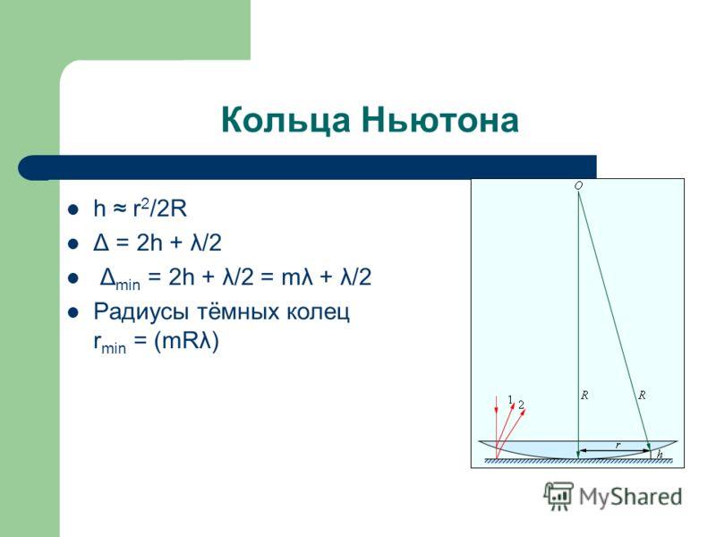 Кольца Ньютона h r 2 /2R Δ = 2h + λ/2 Δ min = 2h + λ/2 = mλ + λ/2 Радиусы тёмных колец r min = (mRλ)