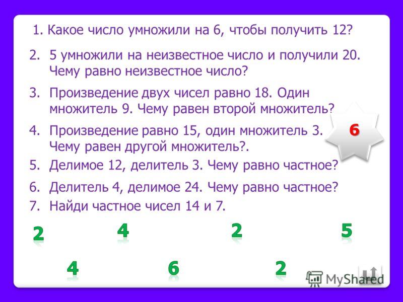 1.Делитель 3, делимое 9. Найди частное. 2.Найди частное чисел 14 и 7. 3.Найди делимое, если частное равно 3, а делитель 5. 4.Делимое 16, а частное 4. Чему равен делитель? 5.18 разделили на неизвестное число и получили 9. Чему равно неизвестное число?