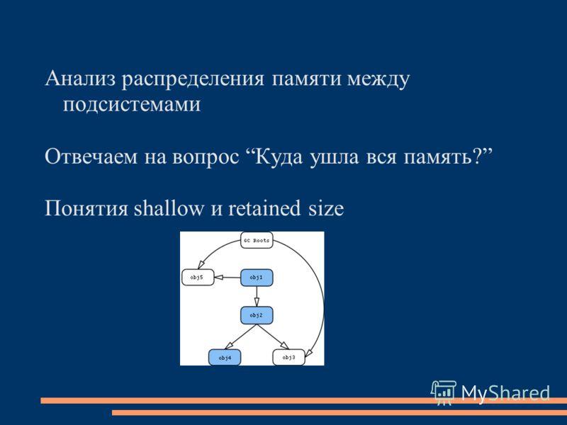Анализ распределения памяти между подсистемами Отвечаем на вопрос Куда ушла вся память? Понятия shallow и retained size