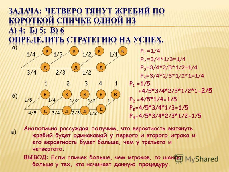 Р 1 =1/4 Р 2 =3/4*1/3=1/4 Р 3 =3/4*2/3*1/2=1/4 Р 4 =3/4*2/3*1/2*1=1/4 кккк ддд 3/4 1/4 2/31/2 1/11/21/3 а) б) к д к д к д к д к 4/54/5 1/51/51/4 3/4 1/31/3 2/32/3 1/2 1 21341 Аналогично рассуждая получим, что вероятность вытянуть жребий будет одинако