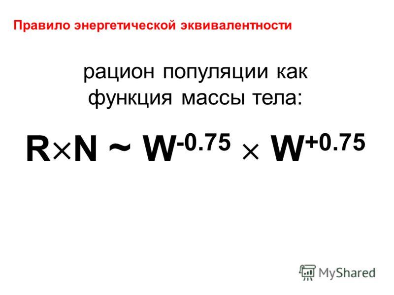 Правило энергетической эквивалентности рацион популяции как функция массы тела: R N ~ W -0.75 W +0.75
