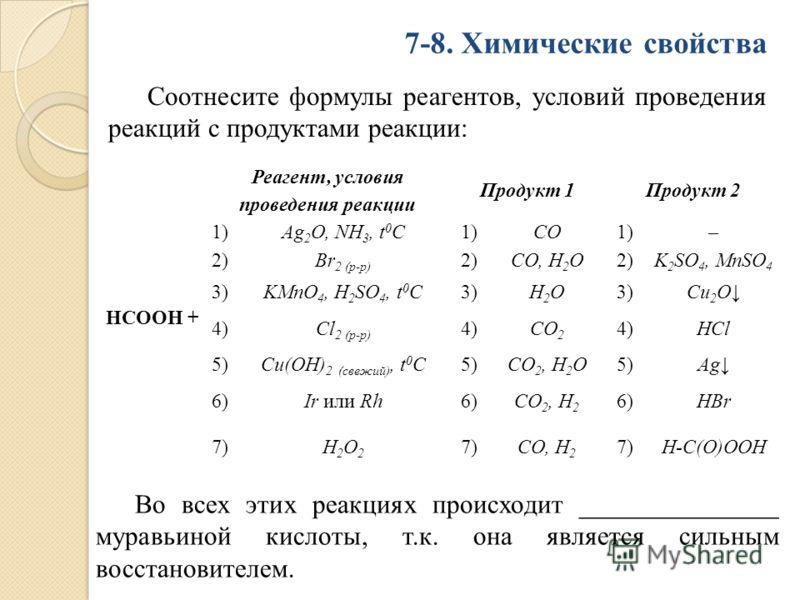Соотнесите формулы реагентов, условий проведения реакций с продуктами реакции: 7-8. Химические свойства НСООН + Реагент, условия проведения реакции Продукт 1Продукт 2 1)Ag 2 O, NH 3, t 0 C1)CO1)– 2)Br 2 (р-р) 2)CO, H 2 O2)K 2 SO 4, MnSO 4 3)KMnO 4, Н