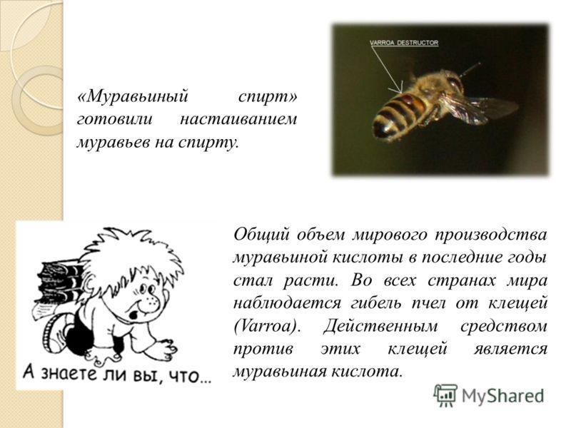 Общий объем мирового производства муравьиной кислоты в последние годы стал расти. Во всех странах мира наблюдается гибель пчел от клещей (Varroa). Действенным средством против этих клещей является муравьиная кислота. «Муравьиный спирт» готовили наста