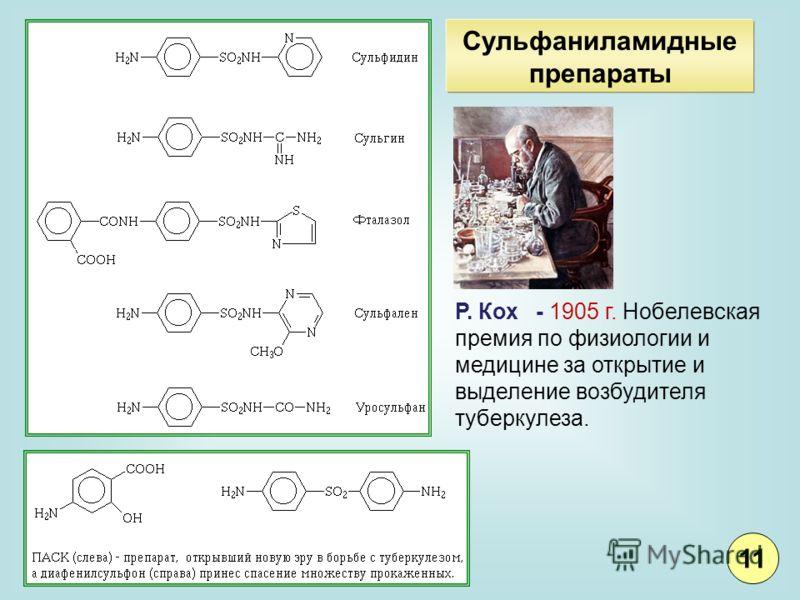 Сульфаниламидные препараты Р. Кох - 1905 г. Нобелевская премия по физиологии и медицине за открытие и выделение возбудителя туберкулеза. 11
