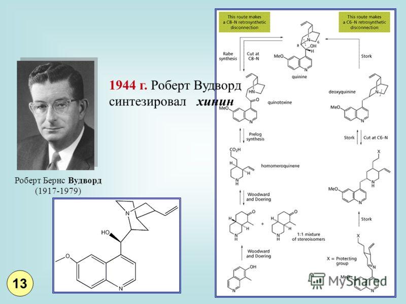 1944 г. Роберт Вудворд синтезировал хинин Роберт Бернс Вудворд (1917-1979) 13