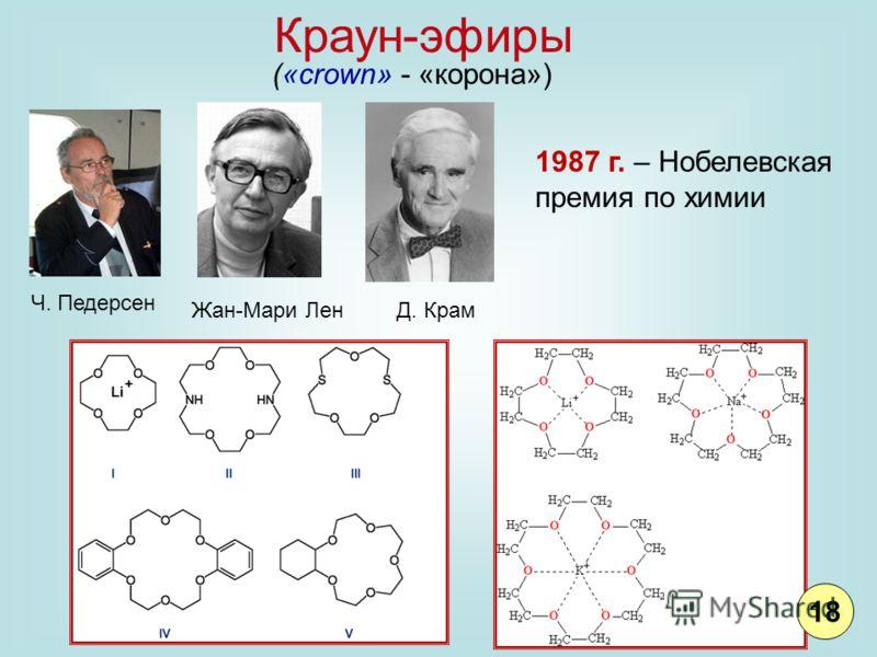 Краун-эфиры («crown» - «корона») Ч. Педерсен Жан-Мари ЛенД. Крам 1987 г. – Нобелевская премия по химии 18