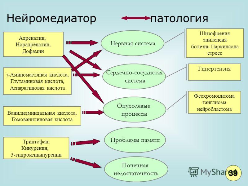 Нейромедиатор патология Aдреналин, Норадреналин, Дофамин γ-Аминомасляная кислота, Глутаминовая кислота, Аспарагиновая кислота Ванилилминдальная кислота, Гомованилиновая кислота Триптофан, Кинуренин, 3-гидроксикинуренин Нервная система Проблемы памяти