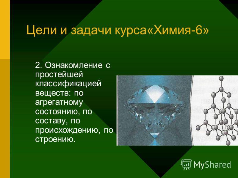 Цели и задачи курса«Химия-6» 2. Ознакомление с простейшей классификацией веществ: по агрегатному состоянию, по составу, по происхождению, по строению.
