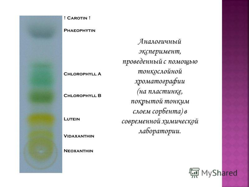 Аналогичный эксперимент, проведенный с помощью тонкослойной хроматографии (на пластинке, покрытой тонким слоем сорбента) в современной химической лаборатории.