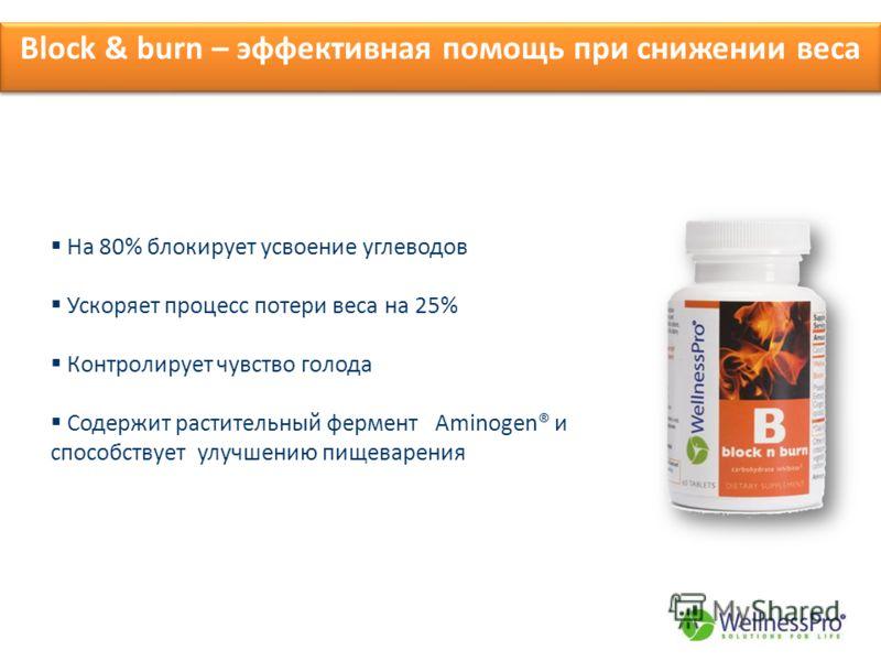 Block & burn – эффективная помощь при снижении веса На 80% блокирует усвоение углеводов Ускоряет процесс потери веса на 25% Контролирует чувство голода Содержит растительный фермент Aminogen® и способствует улучшению пищеварения