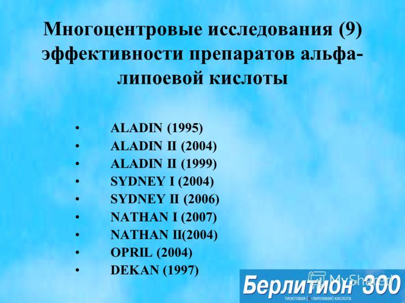 Многоцентровые исследования (9) эффективности препаратов альфа- липоевой кислоты ALADIN (1995) ALADIN II (2004) ALADIN II (1999) SYDNEY I (2004) SYDNEY II (2006) NATHAN I (2007) NATHAN II(2004) OPRIL (2004) DEKAN (1997)