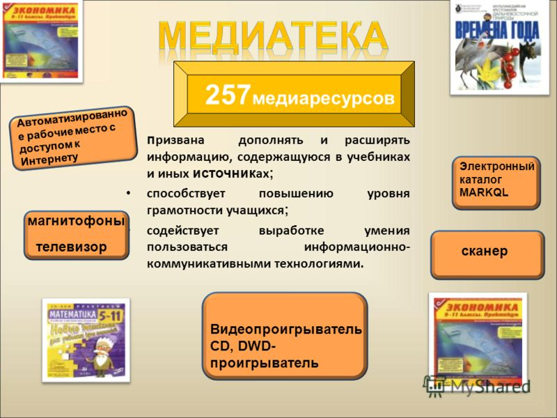 п ризвана дополнять и расширять информацию, содержащуюся в учебниках и иных источник ах ; способствует повышению уровня грамотности учащихся ; содействует выработке умения пользоваться информационно- коммуникативными технологиями. Автоматизированно е