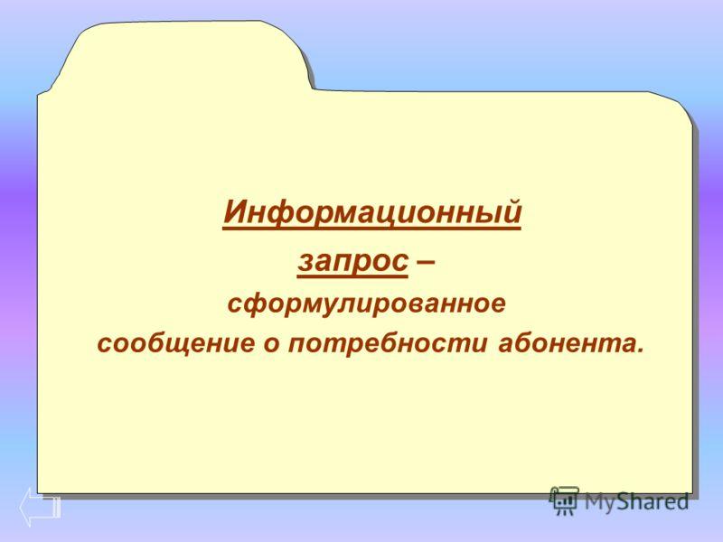 Информационный запрос – сформулированное сообщение о потребности абонента. Информационный запрос – сформулированное сообщение о потребности абонента.