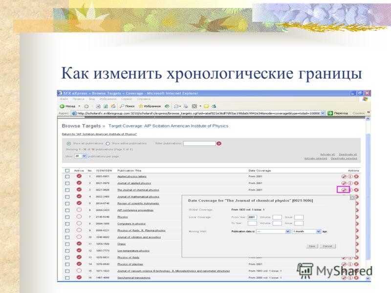 Изменение хронологических границ доступности журналов (AIP)