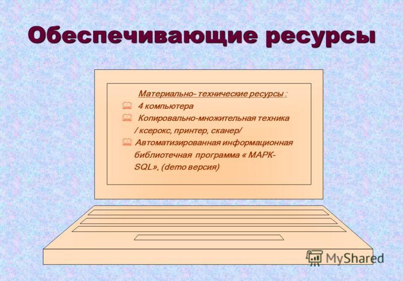 Обеспечивающие ресурсы Материально- технические ресурсы : 4 компьютера Копировально-множительная техника / ксерокс, принтер, сканер/ Автоматизированная информационная библиотечная программа « МАРК- SQL», (demo версия)
