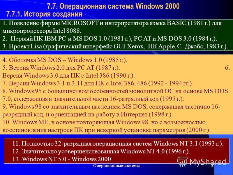 Операционные системы3 7.7.1. История создания 7.7. Операционная система Windows 2000 1. Появление фирмы MICROSOFT и интерпретатора языка BASIC (1981 г.) для микропроцессора Intel 8088. 2. Первый ПК IBM PC и MS DOS 1.0 (1981 г.), PC AT и MS DOS 3.0 (1