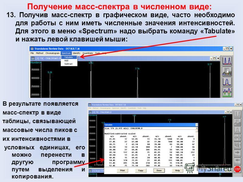 13. Получив масс-спектр в графическом виде, часто необходимо для работы с ним иметь численные значения интенсивностей. Для этого в меню «Spectrum» надо выбрать команду «Tabulate» и нажать левой клавишей мыши: Получение масс-спектра в численном виде: