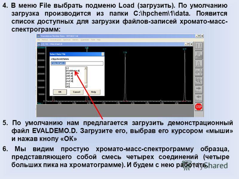 4. В меню File выбрать подменю Load (загрузить). По умолчанию загрузка производится из папки C:\hpchem\1\data. Появится список доступных для загрузки файлов-записей хромато-масс- спектрограмм: 5. По умолчанию нам предлагается загрузить демонстрационн