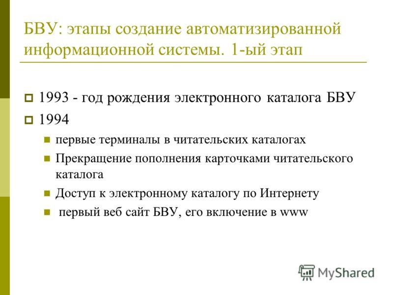 БВУ: этапы создание автоматизированной информационной системы. 1-ый этап 1993 - год рождения электронного каталога БВУ 1994 первые терминалы в читательских каталогах Прекращение пополнения карточками читательского каталога Доступ к электронному катал
