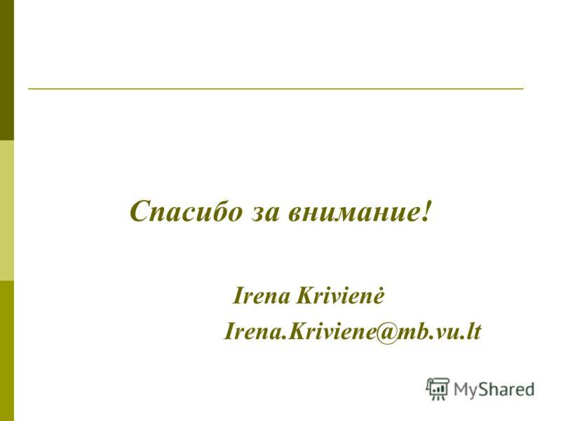 Спасибо за внимание! Irena Krivienė Irena.Kriviene@mb.vu.lt