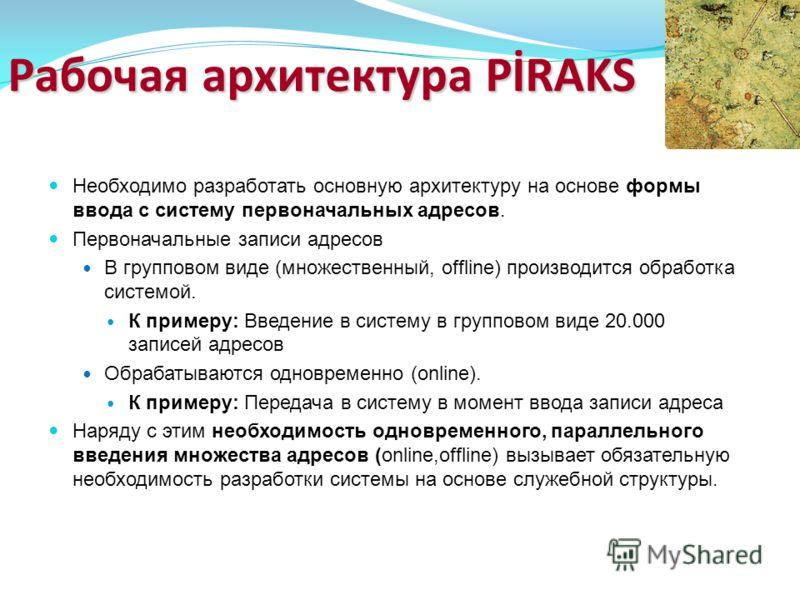 Рабочая архитектура PİRAKS Необходимо разработать основную архитектуру на основе формы ввода с систему первоначальных адресов. Первоначальные записи адресов В групповом виде (множественный, offline) производится обработка системой. К примеру: Введени