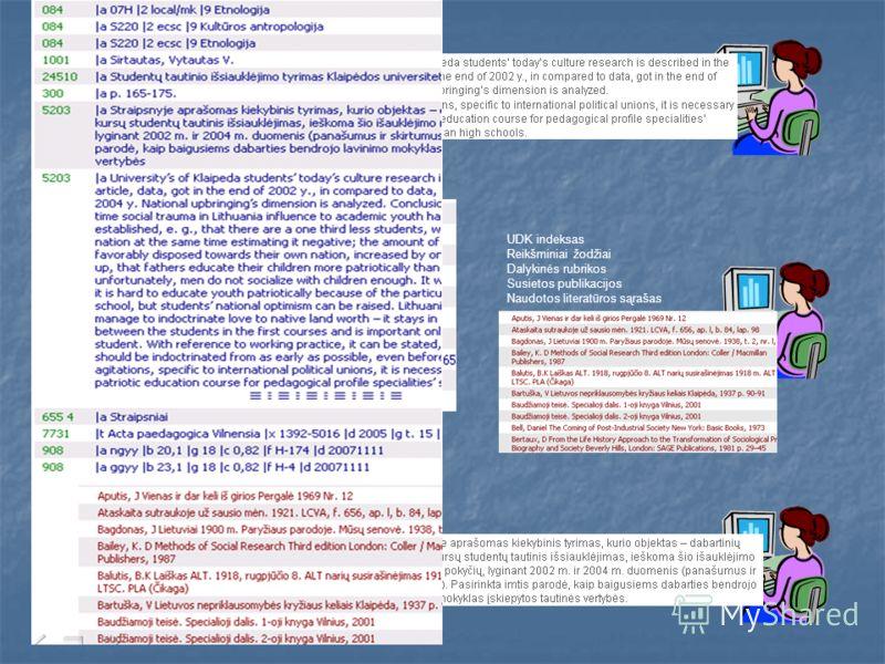 UDK indeksas Reikšminiai žodžiai Dalykinės rubrikos Susietos publikacijos Naudotos literatūros sąrašas