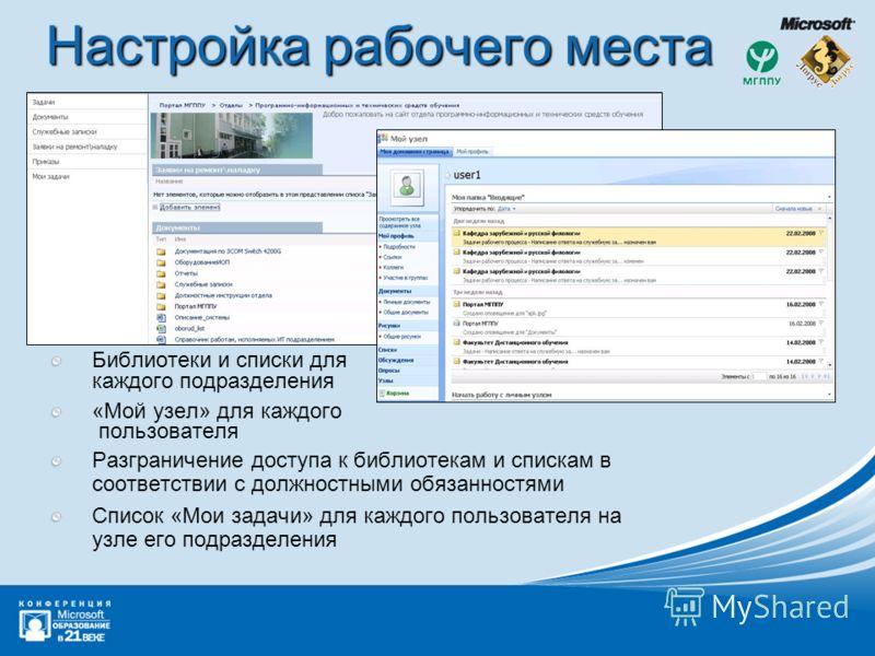 Настройка рабочего места Библиотеки и списки для каждого подразделения «Мой узел» для каждого пользователя Разграничение доступа к библиотекам и спискам в соответствии с должностными обязанностями Список «Мои задачи» для каждого пользователя на узле