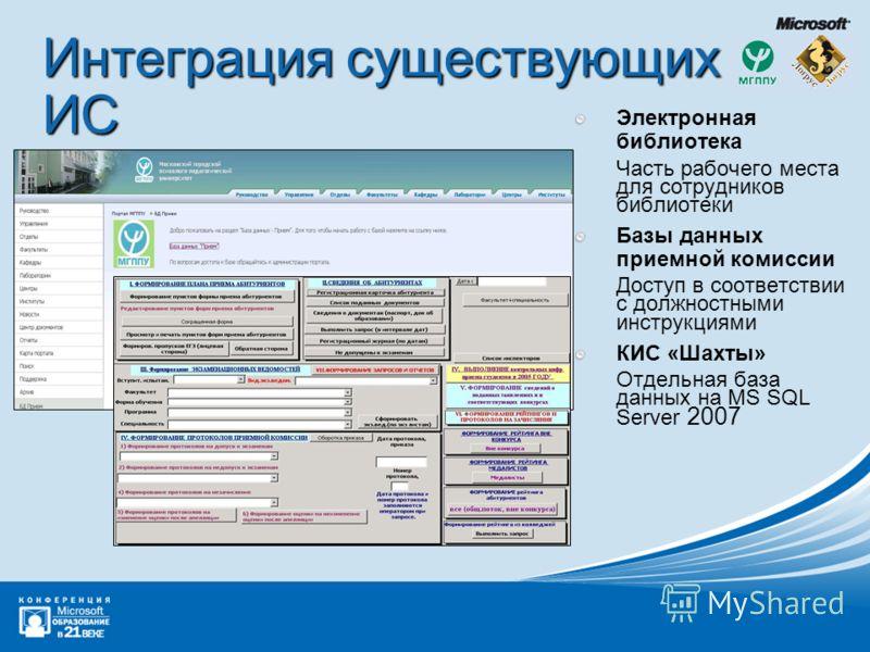 Интеграция существующих ИС Электронная библиотека Часть рабочего места для сотрудников библиотеки Базы данных приемной комиссии Доступ в соответствии с должностными инструкциями КИС «Шахты» Отдельная база данных на MS SQL Server 2007