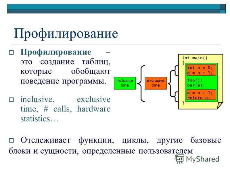 Профилирование Профилирование – это создание таблиц, которые обобщают поведение программы. inclusive, exclusive time, # calls, hardware statistics… Отслеживает функции, циклы, другие базовые блоки и сущности, определенные пользователем