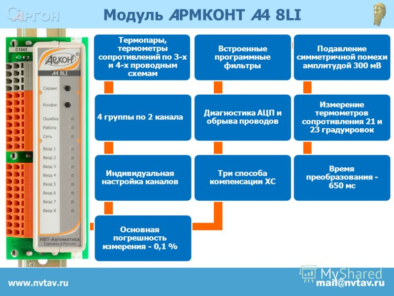 Модуль АРМКОНТ А4 8LI Термопары, термометры сопротивлений по 3-х и 4-х проводным схемам 4 группы по 2 канала Индивидуальная настройка каналов Основная погрешность измерения - 0,1 % Три способа компенсации ХС Диагностика АЦП и обрыва проводов Встроенн