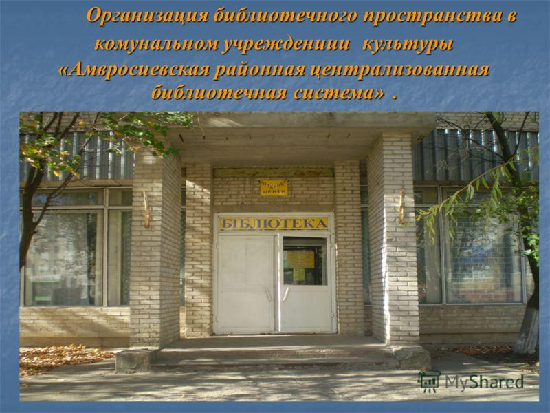 Организация библиотечного пространства в комунальном учреждениии культуры «Амвросиевская районная централизованная библиотечная система».